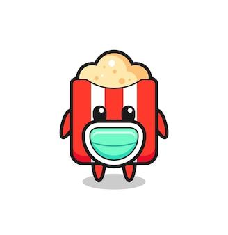 Niedlicher popcorn-cartoon, der eine maske trägt, niedliches design für t-shirt, aufkleber, logo-element