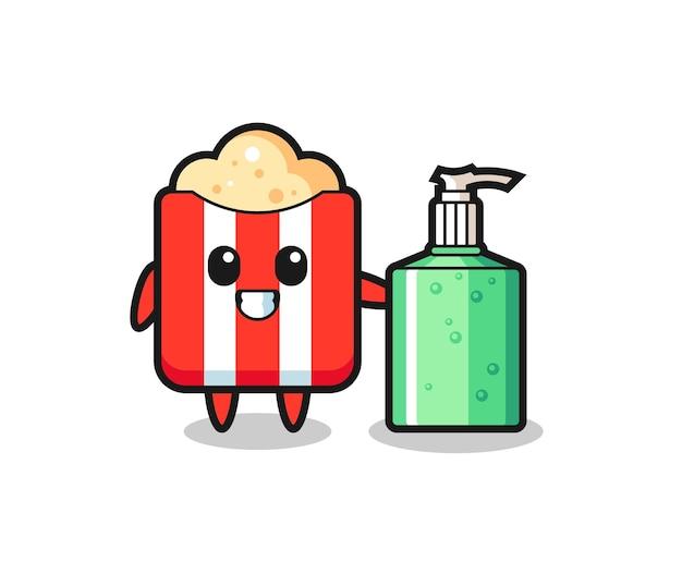Niedlicher popcorn-cartoon mit händedesinfektionsmittel, niedliches design für t-shirt, aufkleber, logo-element
