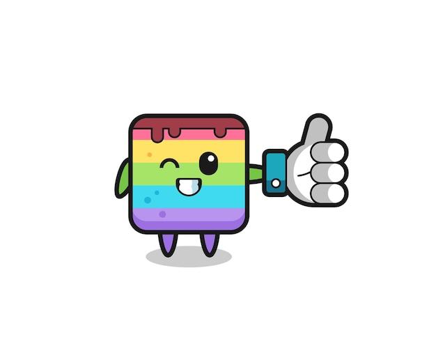 Niedlicher regenbogenkuchen mit social-media-daumen hoch symbol, süßes design für t-shirt, aufkleber, logo-element