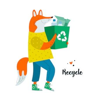 Niedlicher reizender cartoonfuchscharakter, der den abfall sortiert. null abfall lebensstil. kunststoff recyceln. reduzieren, wiederverwenden. rette den planeten.