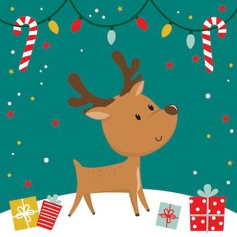 Niedlicher ren klaus und irgendein weihnachtsgeschenk