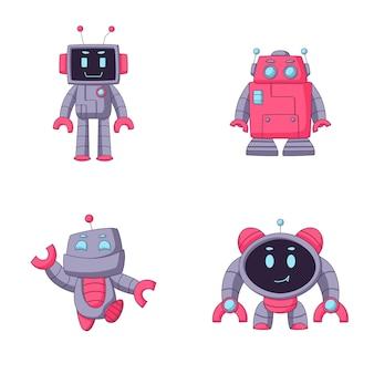 Niedlicher roboter-cartoon-sammlungssatz
