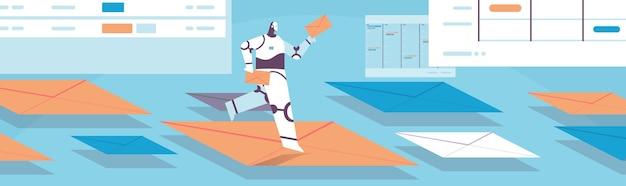 Niedlicher roboter chatbot senden und empfangen von umschlägen e-mail-briefe online-kommunikation künstliche intelligenz technologie konzept in voller länge horizontale vektor-illustration