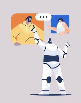 Niedlicher roboter, der mit leuten während des videoanrufs online-kommunikation künstliche intelligenz technologiekonzept in voller länge vertikale vektor-illustration diskutiert