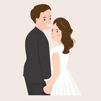 Niedlicher romantischer paarbrautbräutigam in der hochzeitskleidillustration