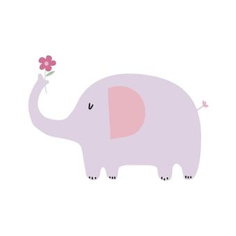Niedlicher rosa elefant im skandinavischen stil der flachen illustration
