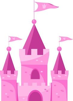 Niedlicher rosafarbener königreichspalast der karikatur