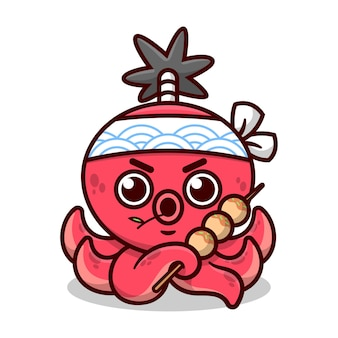 Niedlicher roter oktopus mit samurai-haarstil trägt japanisches stirnband und bringt takoyaki hochwertiges cartoon-maskottchen-design