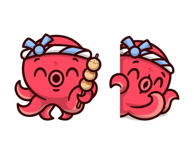 Niedlicher roter oktopus trägt japanisches stirnband und bringt takoyaki in zwei design-optionen hochwertiges cartoon-maskottchen-design