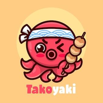 Niedlicher roter oktopus trägt weisses stirnband und bringt takoyaki hochwertiges cartoon-maskottchen-design