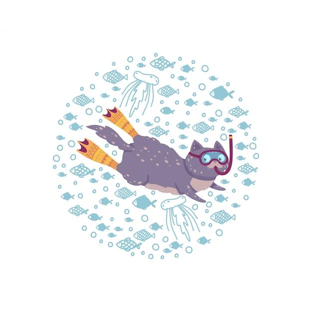Niedlicher runder rahmen mit einer schwimmenkatze umgeben durch fische. katzentauchen in flossen und maske.