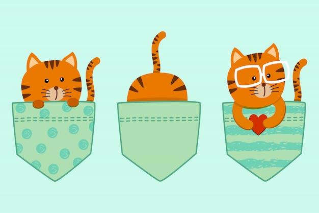 Niedlicher satz der cartoonkatzen-miezekatze in der t-shirt tasche verziert mit herzen