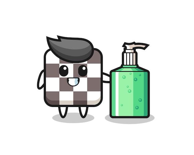 Niedlicher schachbrett-cartoon mit händedesinfektionsmittel, niedliches stildesign für t-shirt, aufkleber, logo-element