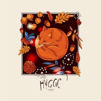 Niedlicher schlafender fuchs, orange ahornblätter des herbstes, blumen, kiefernkegel, beeren und schmetterlinge