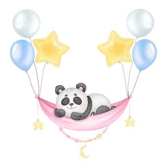 Niedlicher schlafender panda und ballons aquarelldruck