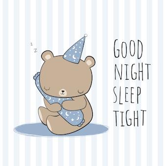 Niedlicher schlafender teddybär und umarmung eine kissen-cartoon-gekritzelkarte