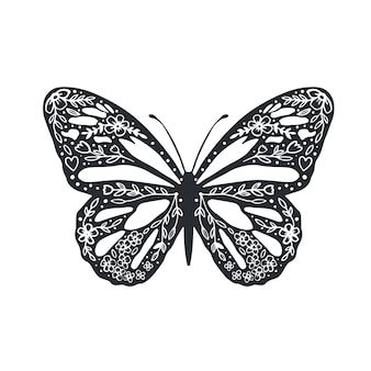 Niedlicher schmetterling mit ornament hintergrund cover design zum ausmalen