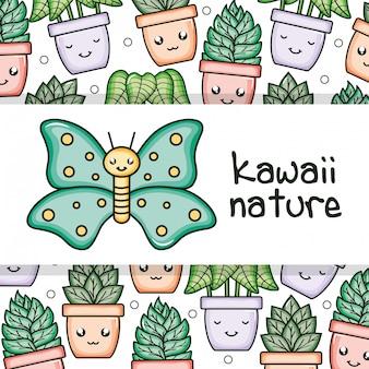 Niedlicher schmetterlingsinsekt kawaii charakter