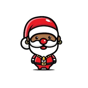 Niedlicher schwarzer weihnachtsmannentwurf
