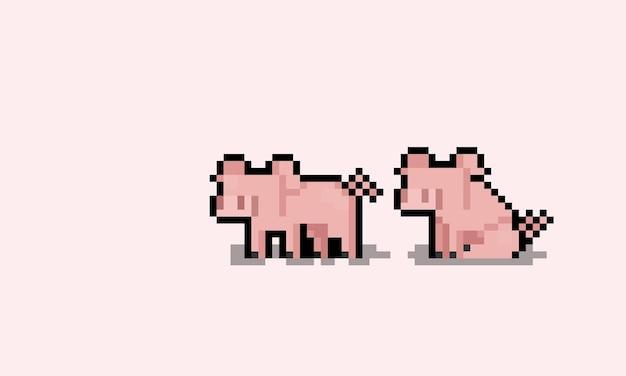 Niedlicher schwein-charakter der pixel-kunstkarikatur