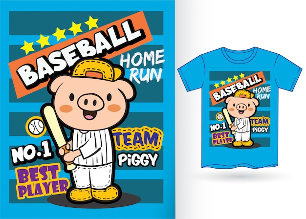 Niedlicher schweinbaseball-spieler-cartoon für t-shirt