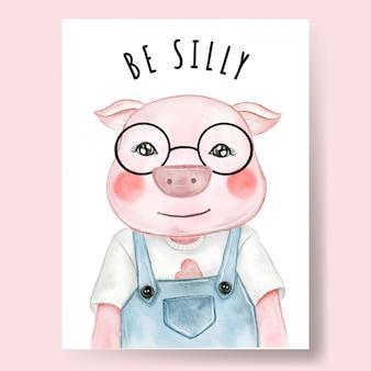 Niedlicher schweinejunge, der brillenaquarellillustrationskinderzimmerdekor trägt