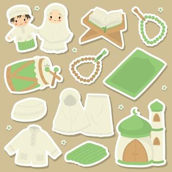 Niedlicher shalat oder islamisches gebetsausrüstungsset. Premium Vektoren