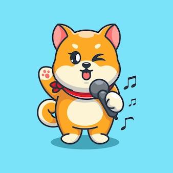 Niedlicher shiba inu hund singt cartoon-design cartoon