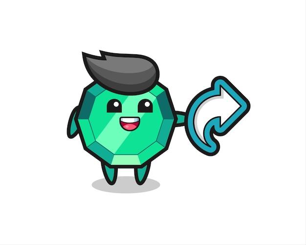 Niedlicher smaragd-edelstein hält social-media-share-symbol, niedliches design für t-shirt, aufkleber, logo-element