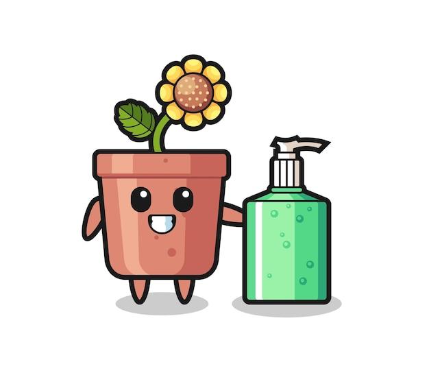 Niedlicher sonnenblumentopf-cartoon mit händedesinfektionsmittel, niedliches design für t-shirt, aufkleber, logo-element