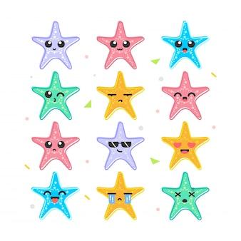 Niedlicher starfish emoticon smiles set