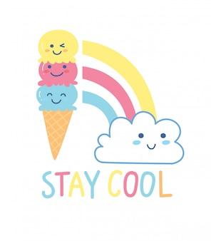 Niedlicher t-shirt entwurf mit kawaii eistüte und regenbogen