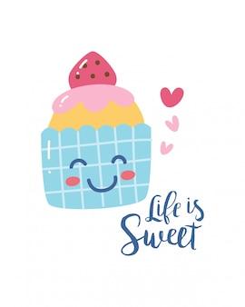 Niedlicher t-shirt entwurf mit kawaii lächelnkleiner kuchen und -slogan
