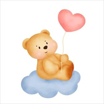 Niedlicher teddybär, der einen herzballon hält.