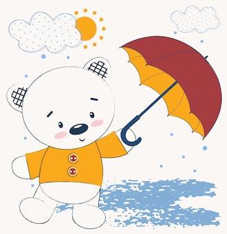 Niedlicher teddybär mit regenschirm
