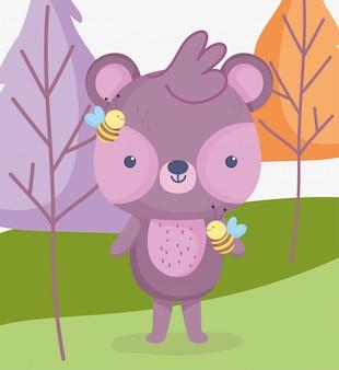 Niedlicher tierbär mit bienenwaldbaum-wiesen-cartoon