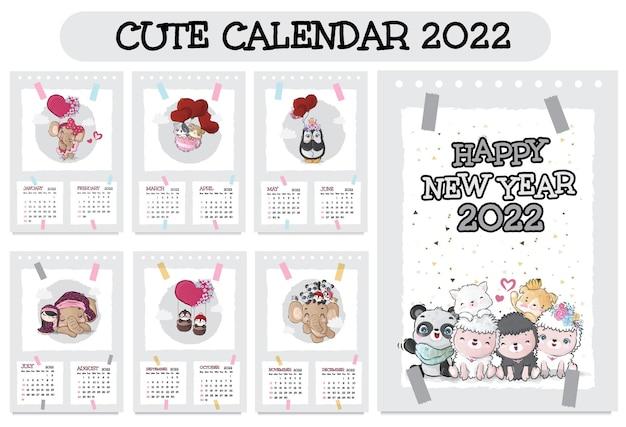 Niedlicher tierfiguren-kalender für 2022 illustrationskalender 2022