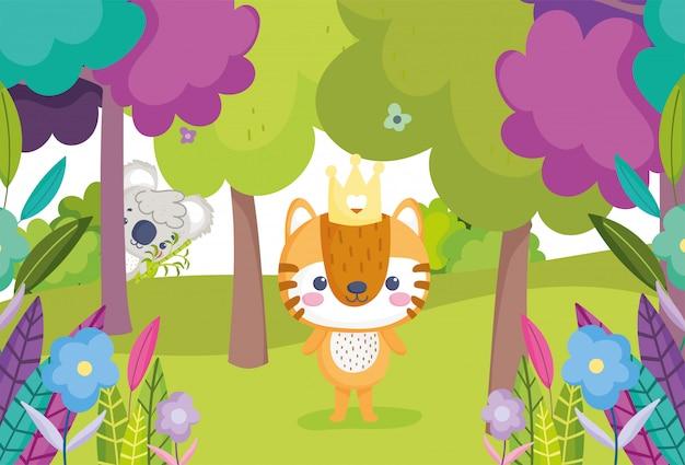 Niedlicher tiertiger und -koala im waldbaum-pflanzen-cartoon