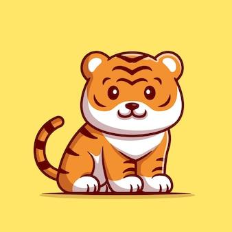Niedlicher tiger, der cartoon-illustration sitzt. flacher cartoon-stil
