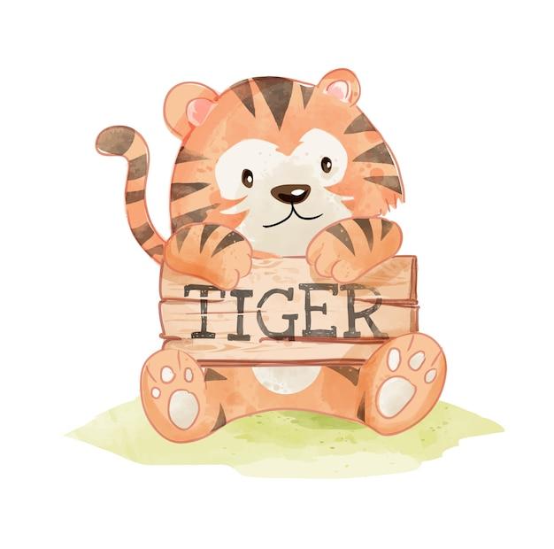 Niedlicher tiger hoding tiger wood sign illustration