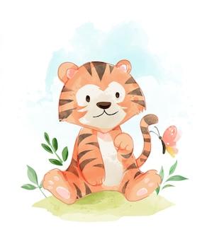Niedlicher tiger in der feldillustration