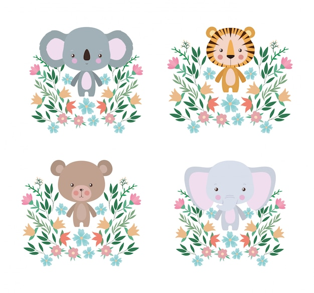 Niedlicher tiger-koalabär und elefantenkarikatursatz