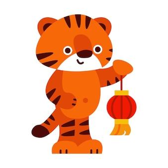 Niedlicher tiger mit einer roten laterne 2022 chinesisches neujahr vektor-illustration im cartoon-stil