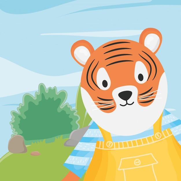 Niedlicher tiger mit overall und gestreiften hemdphantasiemärchen
