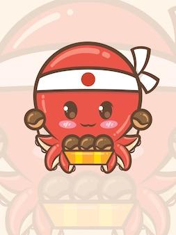 Niedlicher tintenfischkoch, der ein japanisches takoyaki-essen hält - maskottchen und illustration