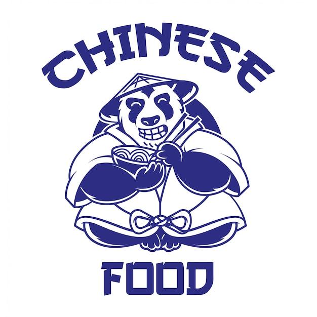Niedlicher und großer chinesischer cartoon-panda, der lächelt und eine schüssel nudeln isst. mit der aufschrift