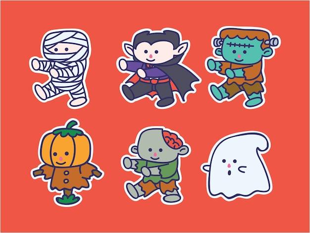 Niedlicher und kawaii halloween charakter illustration aufkleber set