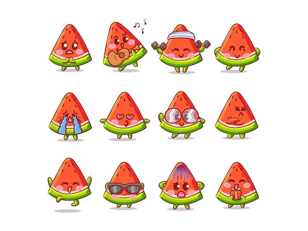 Niedlicher und kawaii wassermelonenaufkleber-illustrationssatz