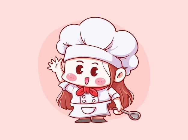 Niedlicher und kawaii weiblicher chef, der löffel manga chibi illustration hält
