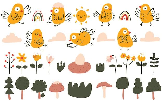 Niedlicher vogel im skandinavischen stil in pastellfarbe, blume, gezeichnete illustration des wettergekritzels
